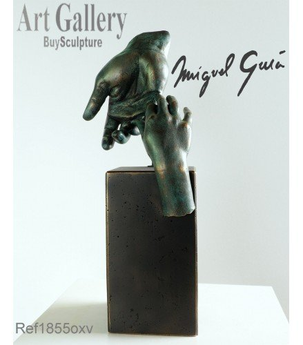 Sculpture Father's Hand in green rusty bronze