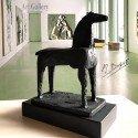 Sculpture Equestrian horse I in blue bronze