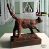 Sculpture Cat feline in rusty bronze