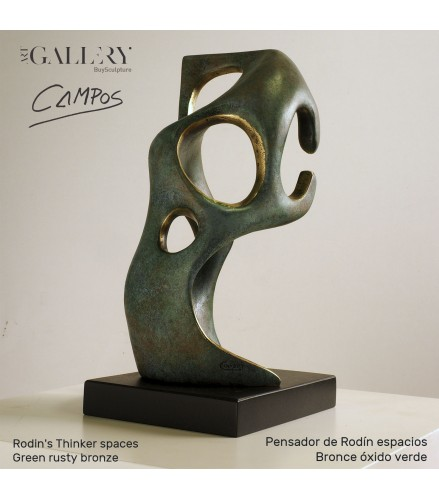 Sculpture Rodin's thinker spaces in green rusty bronze