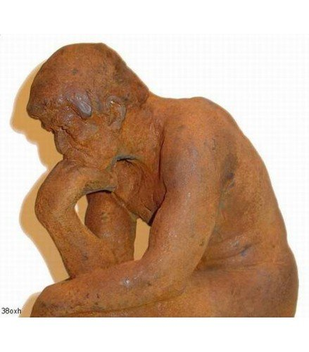 Sculpture The Thinker in rusty bronze