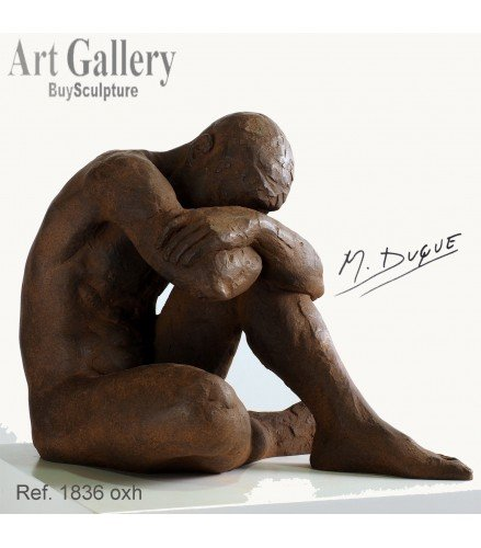 Sculpture act of naked man in rusty bronze