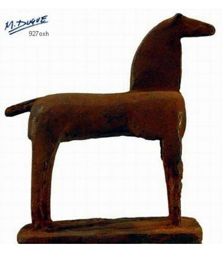 Sculpture Equestrian horse I in rusty bronze