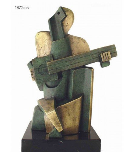 Sculpture Big Guitarist Arlequin in green rusty bronze