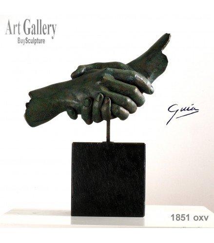 Sculpture Friendship in green rusty bronze
