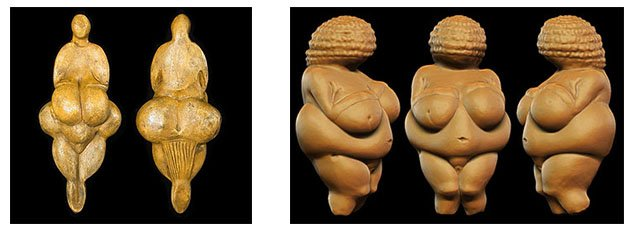 Sculptures - Venus de Lespugue and Venus de Willendorf